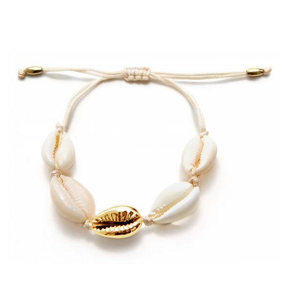 bracelet coquillage blanc et or , shineboutique