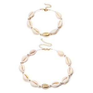 shine boutique, ensemble maui, ensemble de collier et bracelet en coquillage cauri