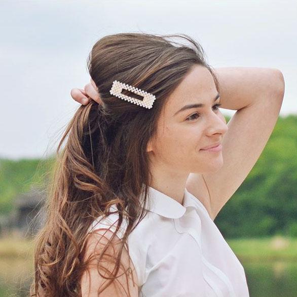 shineboutique, barrette perles sidonie, barrette cheveux fashion, accessoire coiffure