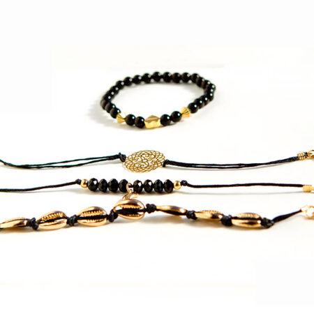 shineboutique, bracelet multi-rangs anthéa, ensemble de bracelet noir, bracelet bohème chic