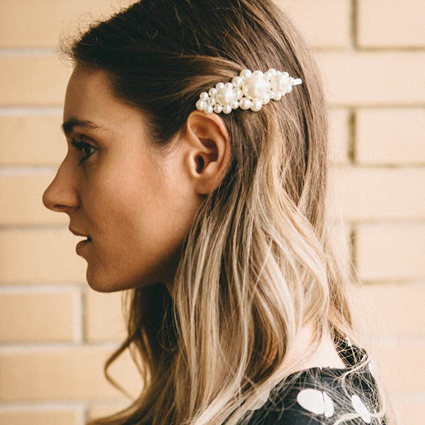 shineboutique, barrette perles fleurine, barrette cheveux fashion, accessoire coiffure
