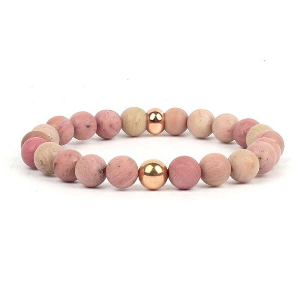 shine boutique, bracelet mala rhodochrosite, bracelet spirituel, bracelet de méditation, bracelet en pierres naturelles