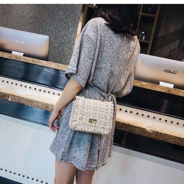 shineboutique , sac bandoulière faustine, sac à main tweed, sac bandoulière laine, sac à main rabat, sac à main chaîne dorée