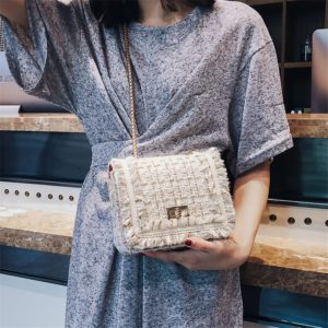 shine boutique , sac bandoulière faustine, sac à main tweed, sac bandoulière laine, sac à main rabat, sac à main chaîne dorée