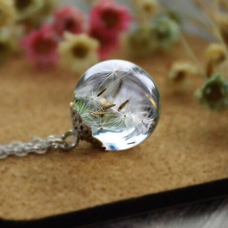 shine boutique, collier boule de pissenlit, collier bohème chic, collier fantaisie, collier nature et zen
