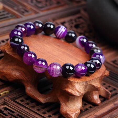 Shineboutique, Bracelet mala améthyste, bracelet spirituel en pierre précieuses