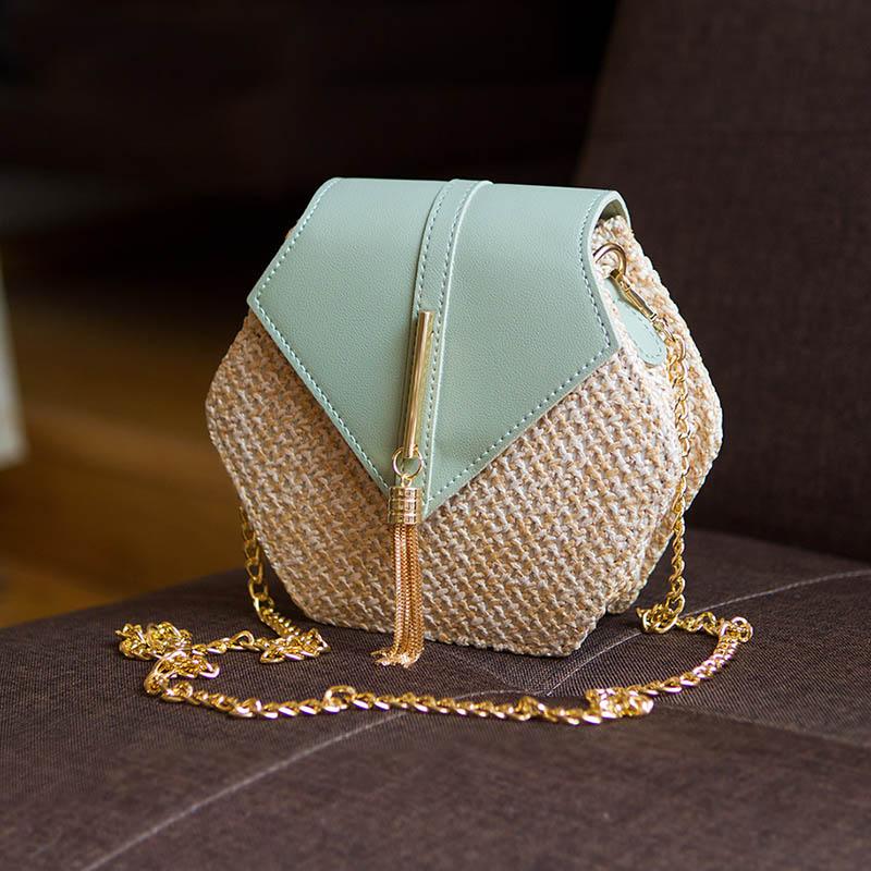 sac à main paille et cuir krystal, shineboutique