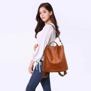 sac à dos antivol en cuir pour femmes