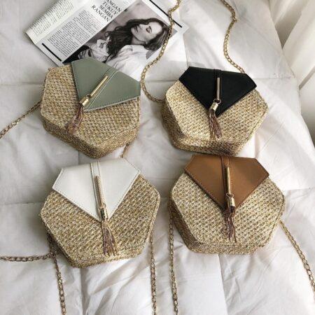 sac paille et cuir kristal, shineboutique