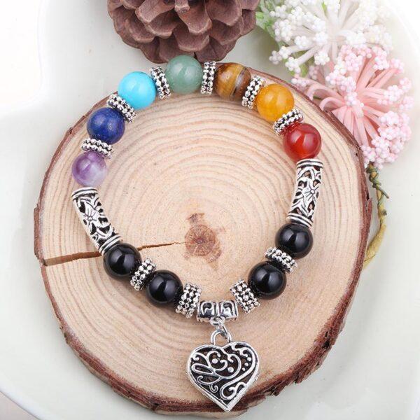 shineboutique, bracelet 7 chakras coeur, bracelet spirituel, bracelet tibétain, bracelet de méditation, bracelet pierres naturelles