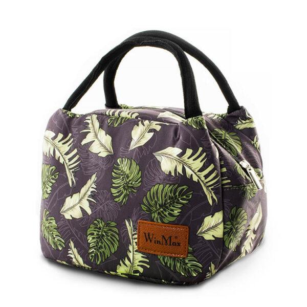 sac repas isotherme, lunch bag feuilles, sac à lunch, sac à déjeuner bohème, sac glaciaire souple, sac faîcheur