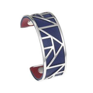shine boutique, bracelet manchette pyramide médium, georgette, bracelet cuir réversible et interchangeables, bracelet 3 en 1, nmanchette acier inoxydable