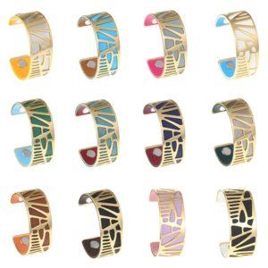 shine boutique, bracelet manchette palmier doré médium, bracelet réversible et interchangeable, bracelet 3 en 1