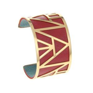 shine boutique, bracelet manchette pyramide doré large, georgette, bracelet réversible et interchangeable, bracelet personnalisable, bracelet 3 en 1