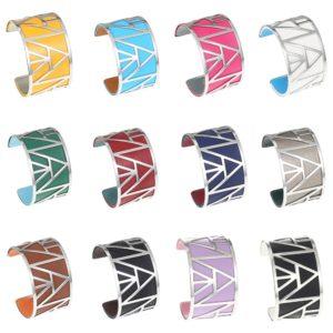 shine boutique, bracelet manchette pyramide large, georgette, bracelet cuir réversible et interchangeables, bracelet 3 en 1, nmanchette acier inoxydable