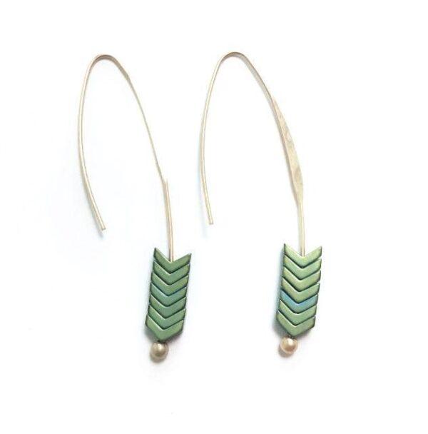 shine boutique, boucles d'oreilles pendantes originales aramis vert