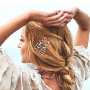 shine boutique, barrette strass sexy, barrette strass star, barrette lettrage strassé, barrettes slogan strass, barrette mot strass barrette cheveux, accessoire cheveux, pince strass