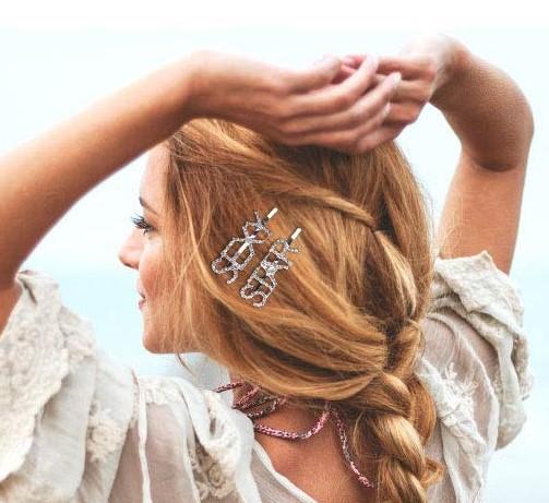 shineboutique, barrette strass sexy, barrette strass star, barrette lettrage strassé, barrettes slogan strass, barrette mot strass barrette cheveux, accessoire cheveux, pince strass