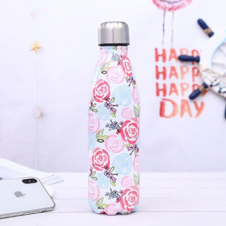 shine boutique, bouteille isotherme roses, thermos