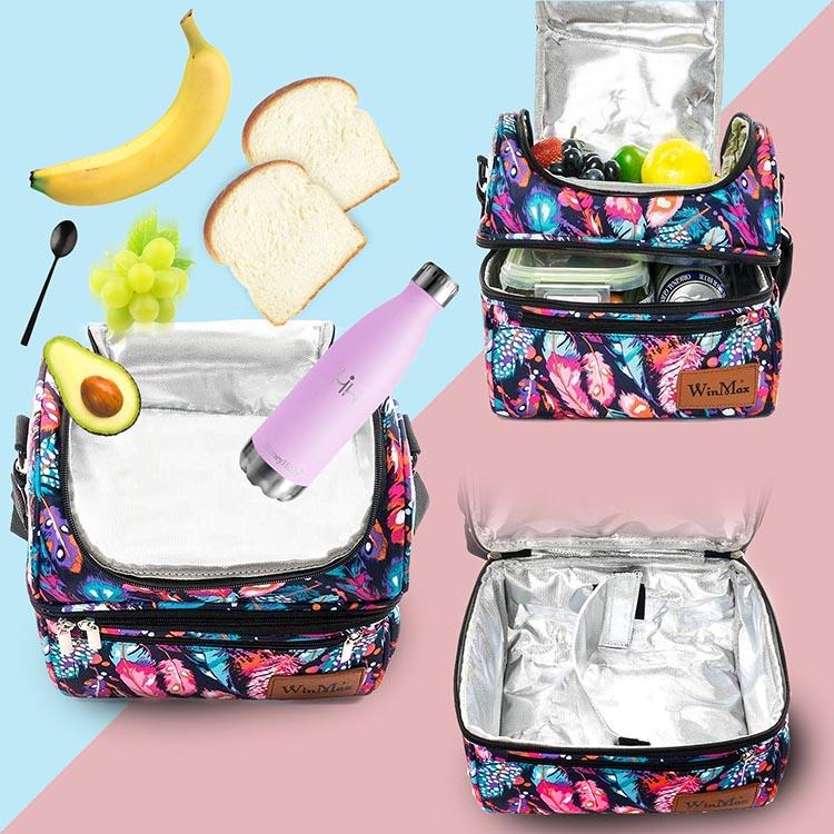 shine boutique, sac repas isotherme Hindy, lunch bag plumes, sac à lunch, sac à déjeuner bohème, sac glaciaire souple, sac faîcheur