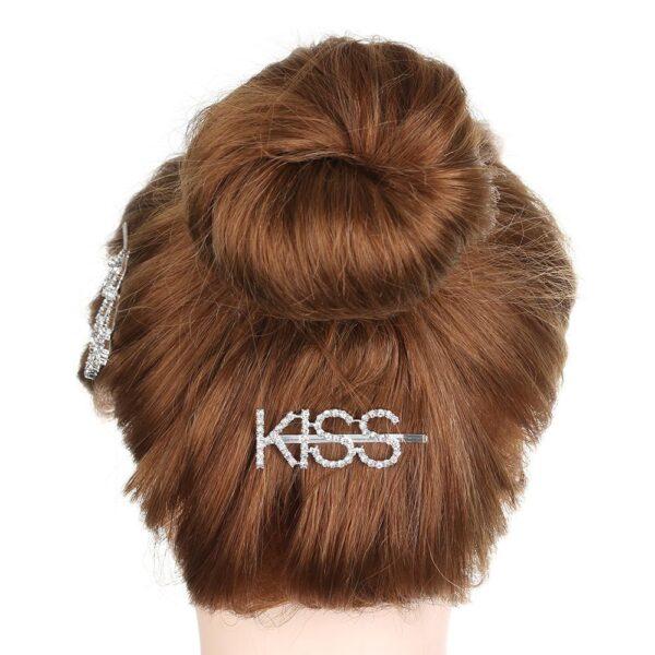 shineboutique, barrette strass kiss, barrette lettrage strassé, barrettes slogan strass, barrette mot strass barrette cheveux, accessoire cheveux, pince strass