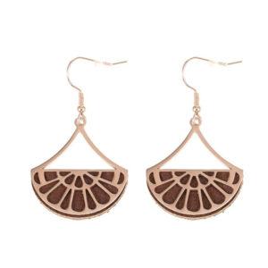 shine boutique, boucles d'oreilles réversibles georgina dorées, georgette, boucles d'oreilles fantaisies, boucles d'oreilles cuir,