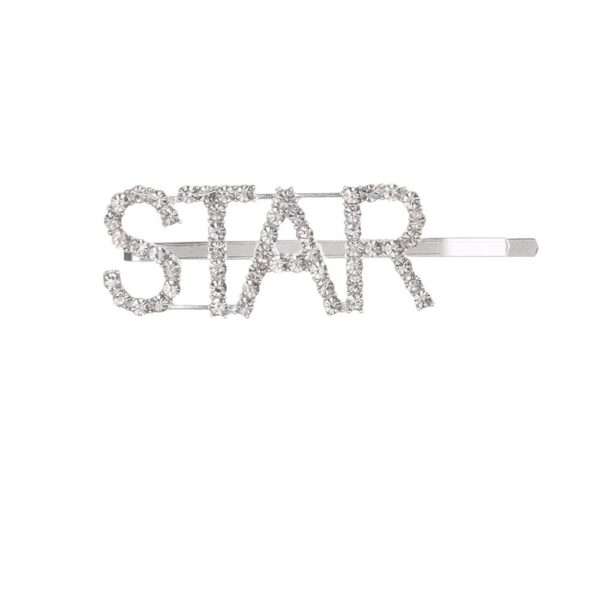 shine boutique, barrette strass star, barrette lettrage strassé, barrettes slogan strass, barrette mot strass barrette cheveux, accessoire cheveux, pince strass