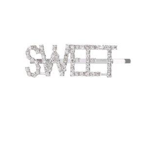 shine boutique, barrette strass, barrette strass sweet, barrette lettrage strassé, barrettes slogan strass, barrette mot strass barrette cheveux, accessoire cheveux, pince strass