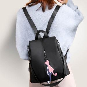 shine boutique, sac à fermeture cachée catia noir, sac antivol noir en oxford pour femme