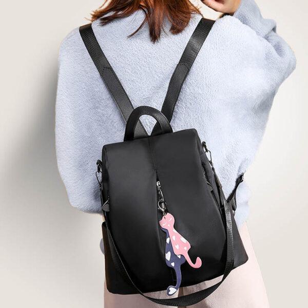 shineboutique, sac à fermeture cachée catia noir, sac antivol noir en oxford pour femme