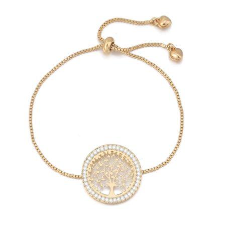Shineboutique, bracelet coulissant arbre de vie, bracelet acier inoxydable et oxyde de zirconium, bracelet ajustable, bracelet or, argent, or rose. bracelet élégant et chic