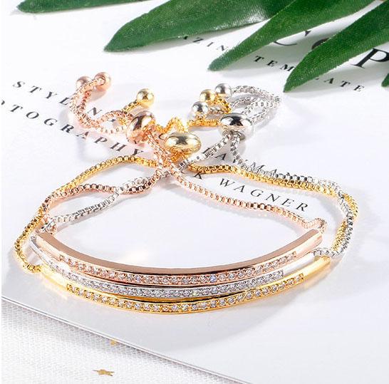 shineboutique, bracelet cassandra, bracelet acier inoxydable, bracelet oxyde de zirconium, bracelet chaîne vénitienne, bracelet chic et élégant. bracelet or, argent, or rose.