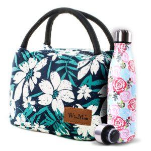 lunch bag fleurs femme et bouteille