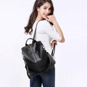shine boutique, sac à fermeture cachée evita noir, sac antivol noir en cuir pour femme