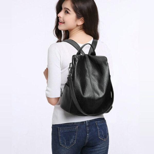 sac à dos antivol en cuir noir