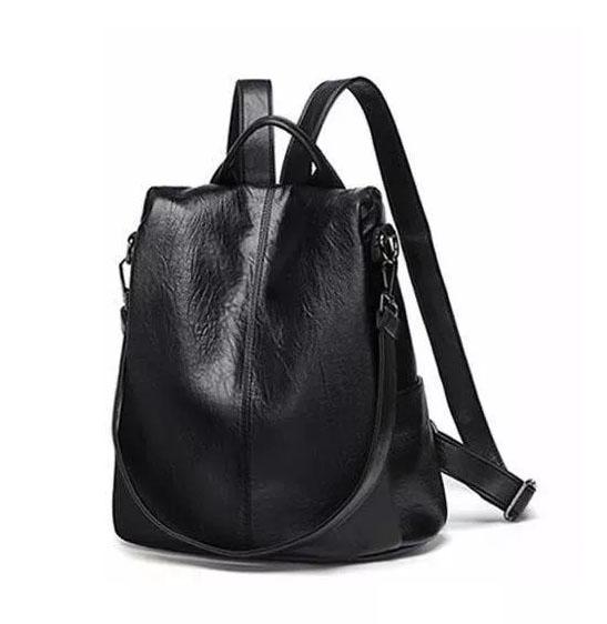 shineboutique, sac à fermeture cachée evita noir, sac antivol noir en cuir pour femme