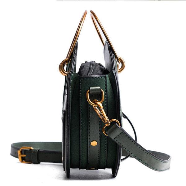 sac rond en bandoulière simili cuir, de style vintage et casual chic