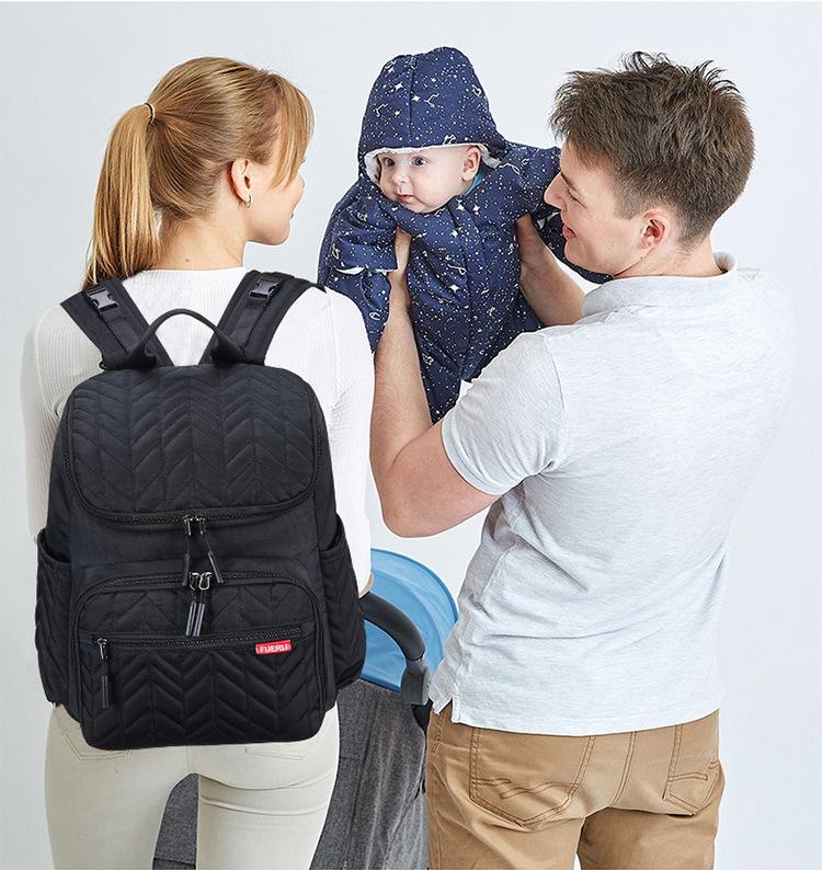 Sac à dos à langer en tissus oxford imperméable avec poches isothermes