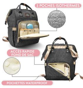sac à dos à langer London, sac de maternité, sac à langer gris foncé, shine boutique, shine