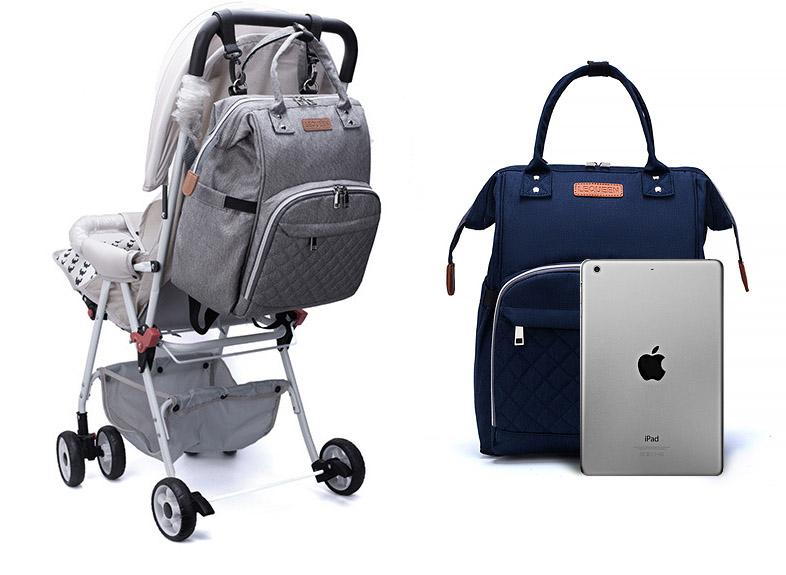 sac à dos à langer, sac à langer bleu, sac de maternité, sac à couches, sac multifonctions, shine boutique, shine