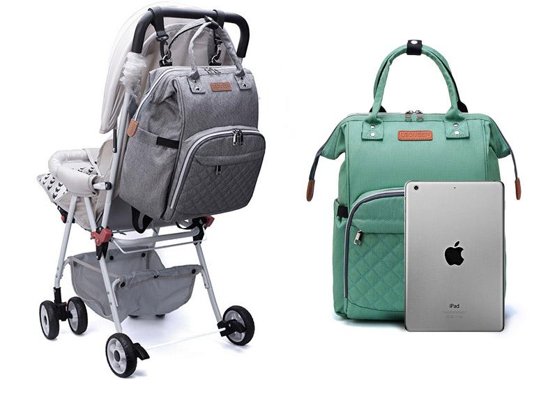 sac à dos à langer premium de couleur verte