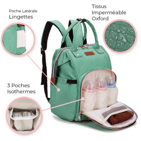 sac à langer en sac à dos tissus oxford premium vert