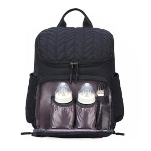 Sac à dos à langer noir en tissus oxford imperméable avec poches isothermes