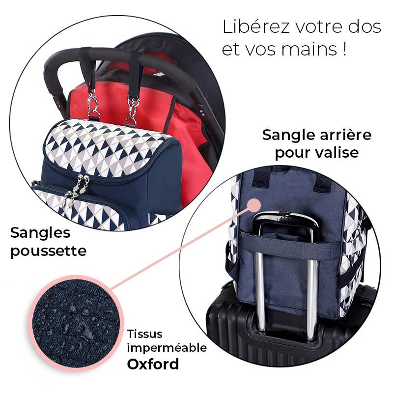 sac à langer confortable comme sac à dos de voyage avec poches isothermes