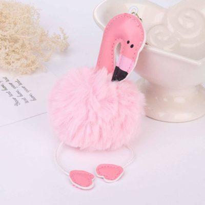 shine boutique, porte-clés pompon flamant rose, porte-clé pompon fourrure, porte-clés boule de poil