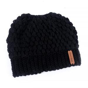 Shine boutique, bonnet queue de cheval noir nevada, bonnet trou, bonnet en tricot et crochet, bonnet hiver