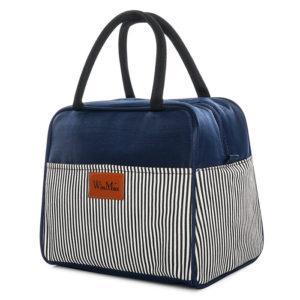 shineboutique, sac repas isotherme rayé, lunch bag marine, petit sac à lunch