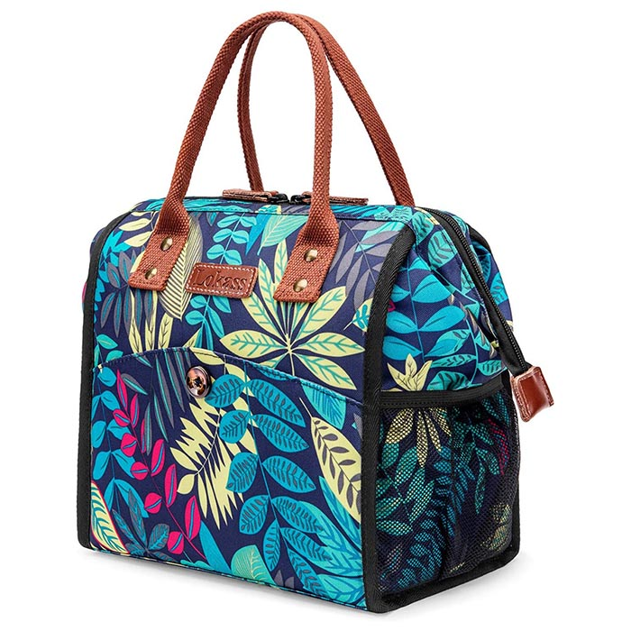shineboutique, sac isotherme repas feuille, lunch bag amazonia, sac à lunch
