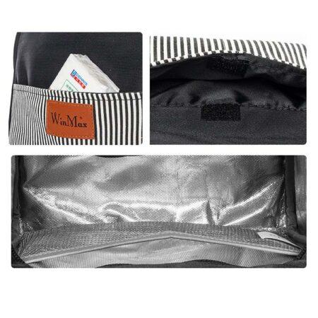 shine boutique, sac repas isotherme rayé, lunch bag marine, petit sac à lunch