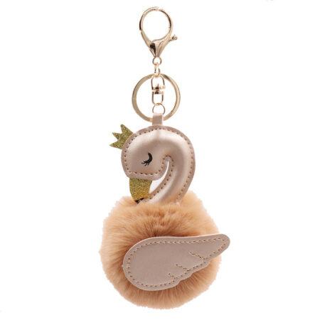 shine boutique, porte-clés pompon Cygne, porte-clé pompon fourrure, porte-clés boule de poil